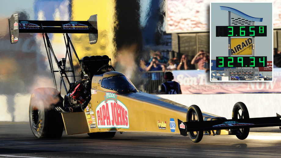 Pritchett's national-record 3.65 leads Top Fuel; C. Force, Line also top Friday fields   NHRA