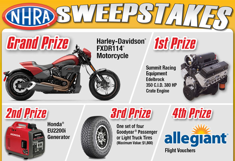 Win a Harley-Davidson FXDR114 motorcycle, other big prizes in NHRA