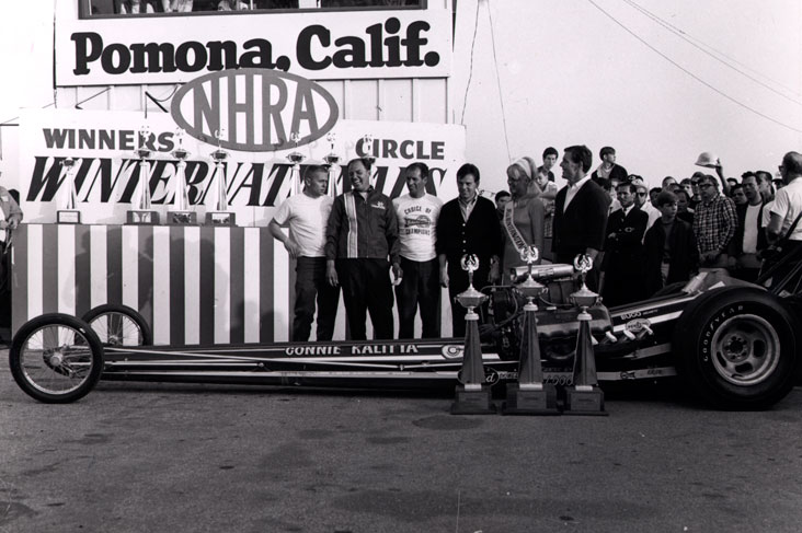 Connie Kalitta in the 1967 Winternationals winner's circle