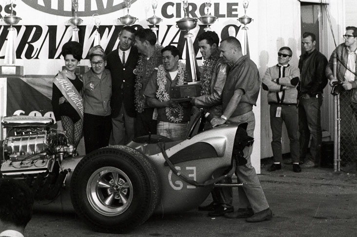 Don Prudhomme in the 1965 Winternationals winner's circle