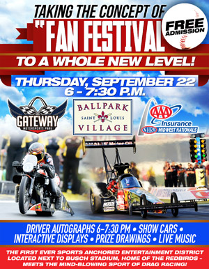 Free fan fest Sept  22 kicks off AAA Insurance NHRA Midwest