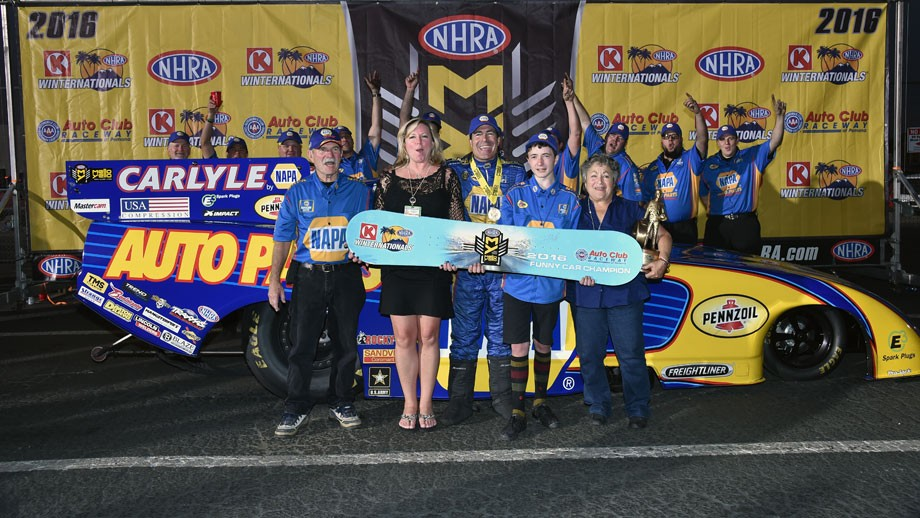 Ron Capps in winner's circle 2016 Winternationals