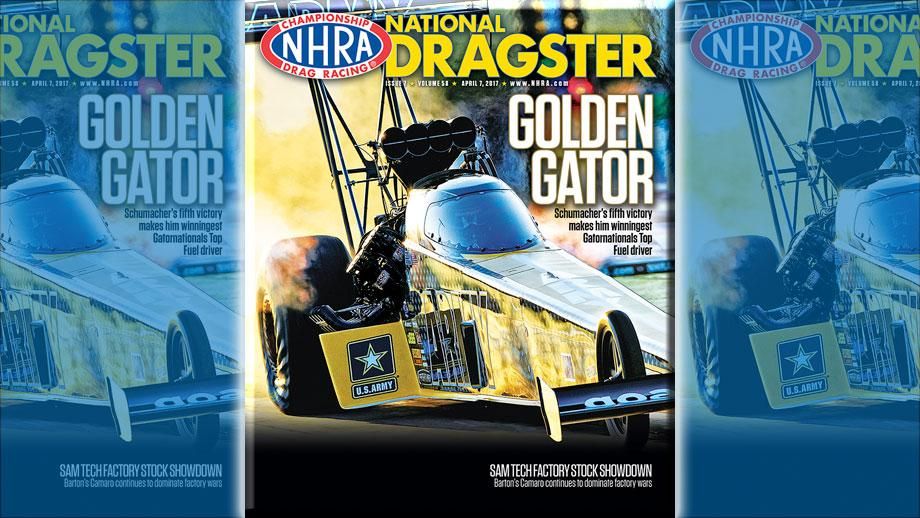 Tony Schumacher on National Dragster cover