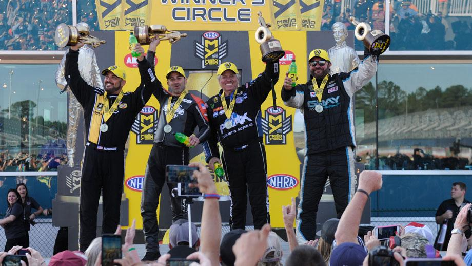 Event winners Shane Gray, Eddie Krawiec, John Force, and Tony Schumacher
