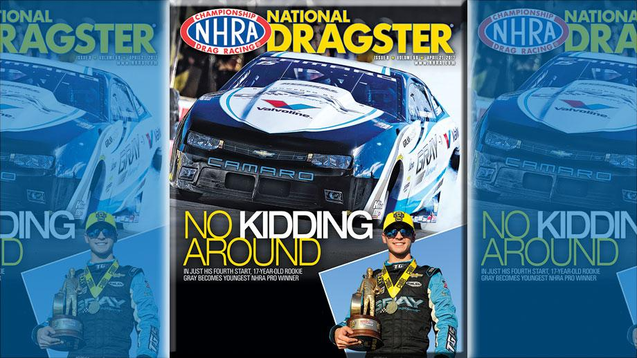 Tanner Gray on National Dragster cover