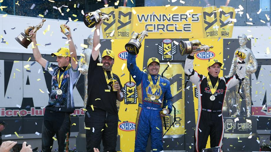 NHRA Four-Wide Nationals champs L.E. Tonglet, Chris McGaha, Ron Capps, and Steve Torrence