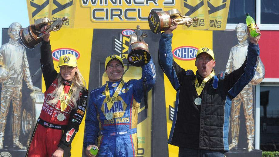 NHRA SpringNationals winners Leah Pritchett, Ron Capps, and Bo Butner