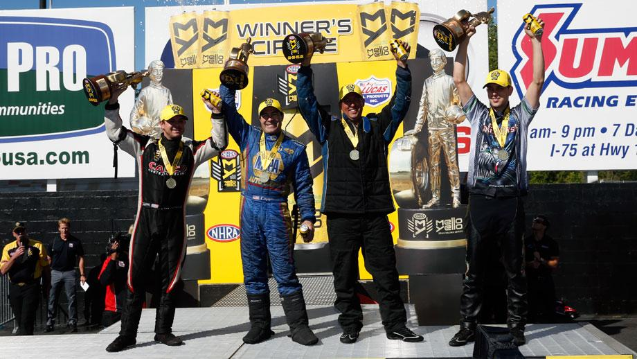 Lucas Oil NHRA Southern Nationals winners, from left, Steve Torrence, Ron Capps, Bo Butner, and LE Tonglet