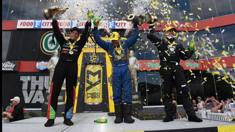 Event champions Clay Millican, Ron Capps, and Alex Laughlin