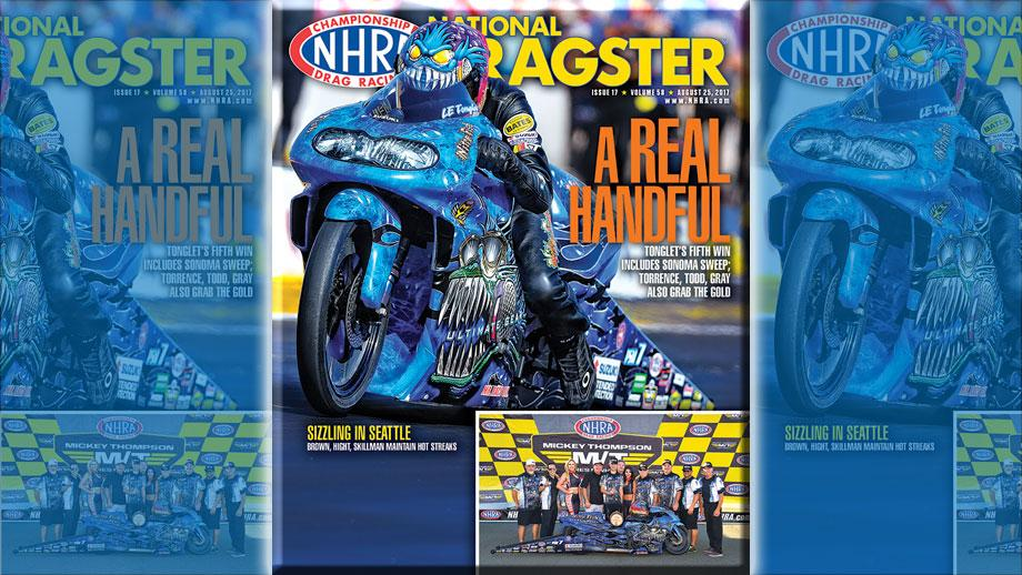 LE Tonglet on National Dragster cover