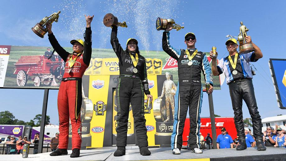 Event champions, from left, Leah Pritchett, Alexis DeJoria, Tanner Gray, and Jerry Savoie