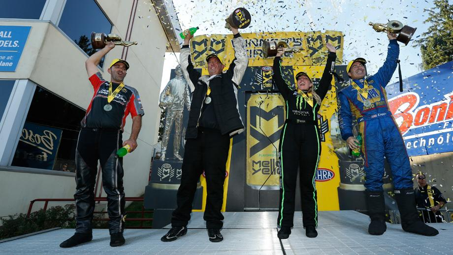 Event champions Eddie Krawiec, Bo Butner, Brittany Force, and Ron Capps
