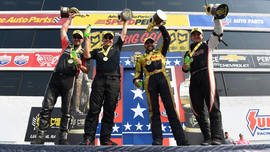 Event winners, from left, Eddie Krawiec, Drew Skillman, J.R. Todd, and Steve Torrence take the stage.
