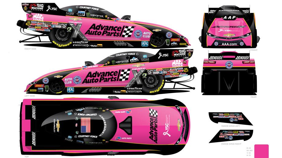 Courtney Force has unveiled a special pink Advance Auto Parts Chevrolet  Camaro SS Funny Car she will drive in Dallas and Las Vegas as part of  Breast Cancer ...