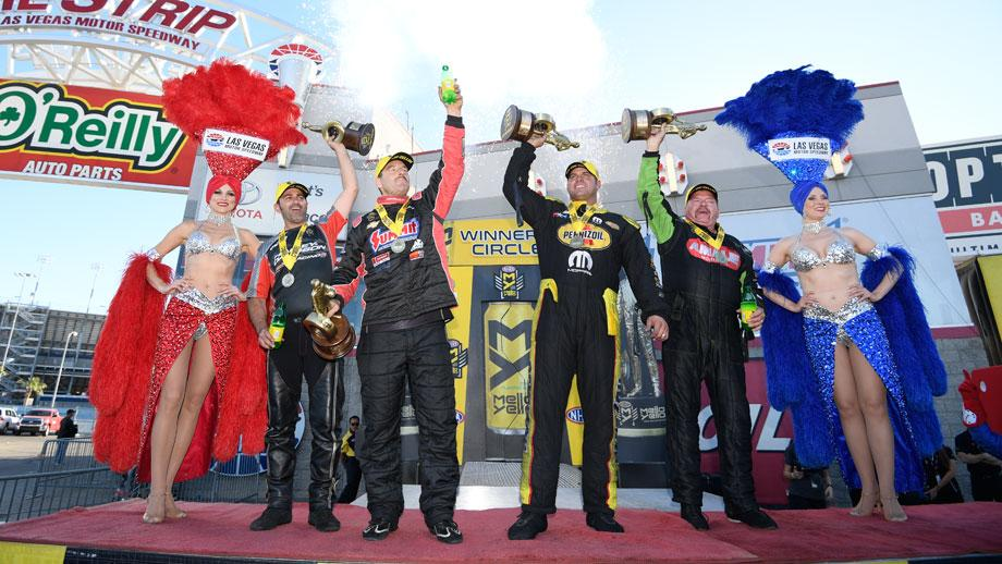 The event winners celebrate their titles at the NHRA Toyota Nationals