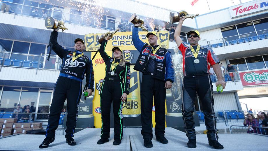 Event winners Robert Hight, Brittany Force, Jason Line, and Eddie Krawiec