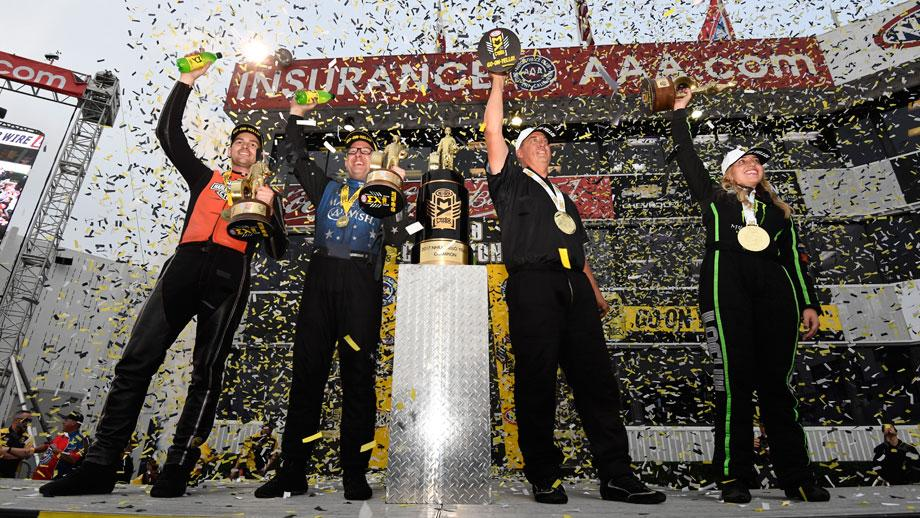 Event champions Andrew Hines, Tommy Johnson Jr., Bo Butner, and Brittany Force
