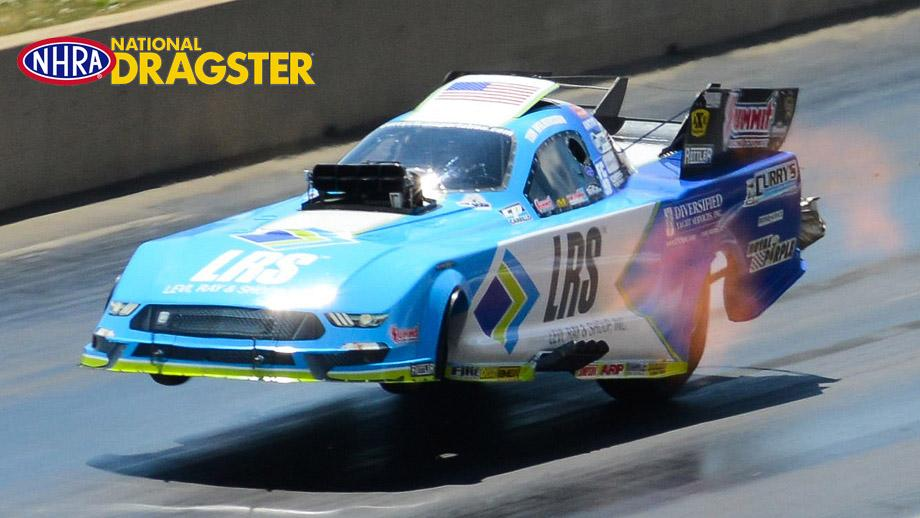 Tim Wilkerson's Levi, Ray & Shoup Shelby Mustang took flight not just once but twice in chassis-damaging wheelstands in Denver.