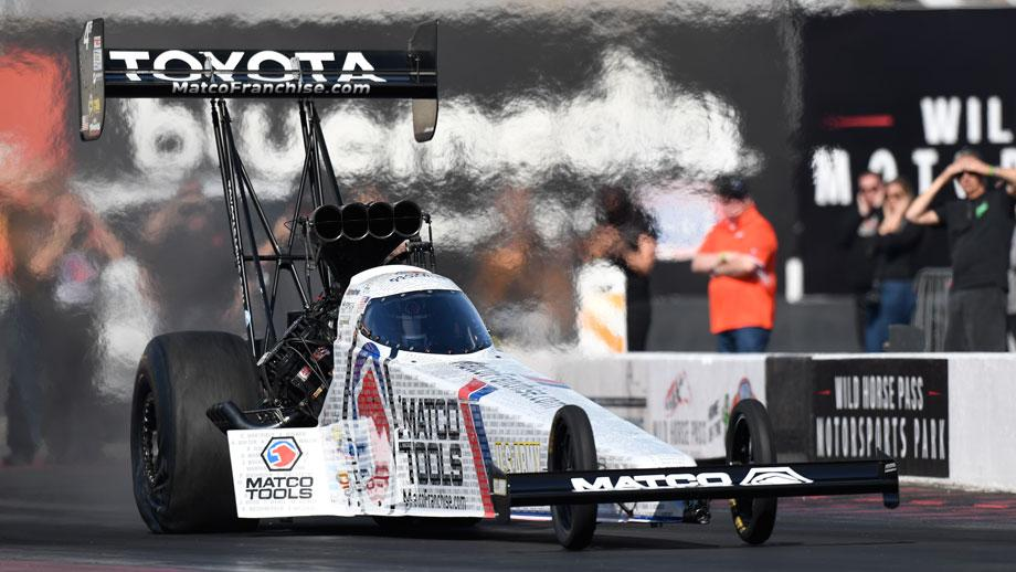 ffd86e4bf3ea Three-time Top Fuel world champion Antron Brown led the pack at the NHRA  Nitro Spring Training on Thursday at Wild Horse Pass Motorsports Park  located ...