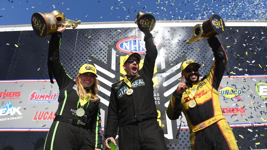 Event winners Brittany Force, Matt Hartford, and J.R. Todd celebrate their big wins