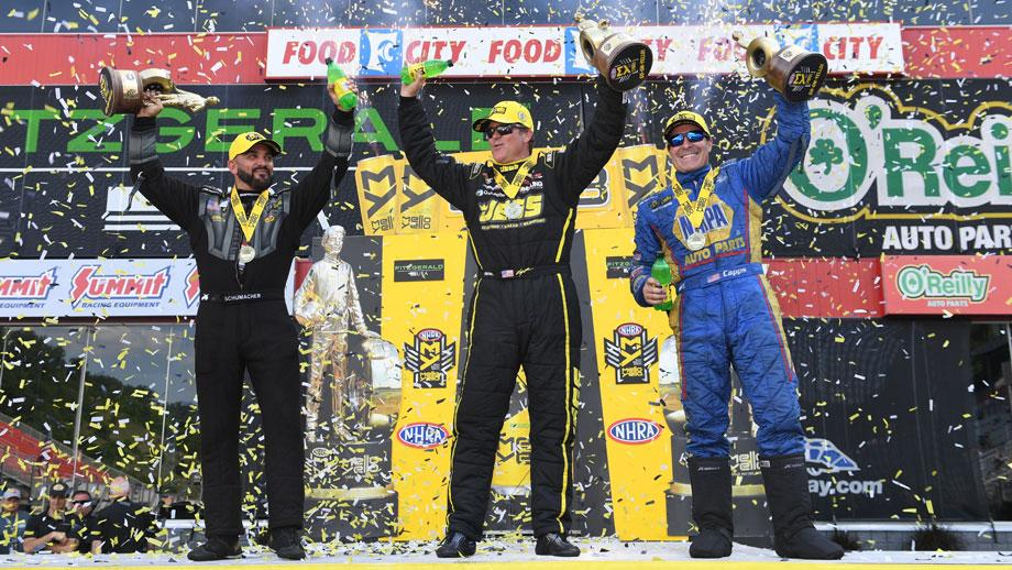 Event winners, from left, Tony Schumacher, Jeg Coughlin Jr., and Ron Capps