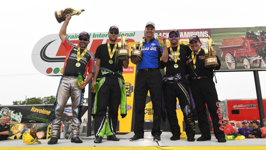 Lucas Oil NHRA Nationals winners hold their Wallys