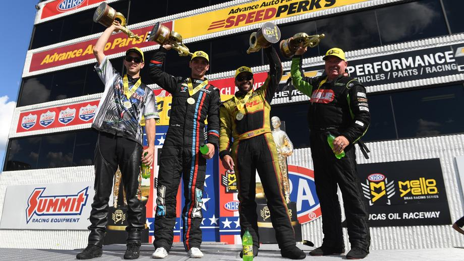 2018 Chevrolet Performance U.S. Nationals champs: LE Tonglet, Tanner Gray, J.R. Todd, and Terry McMillen