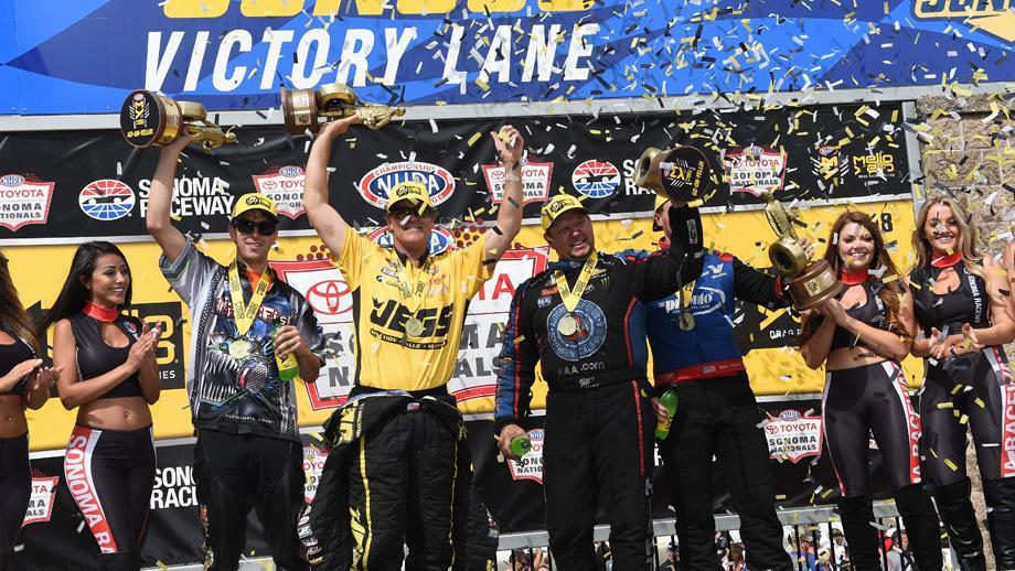 The Toyota NHRA Sonoma Nationals celebrate in Sunoco Victory Lane