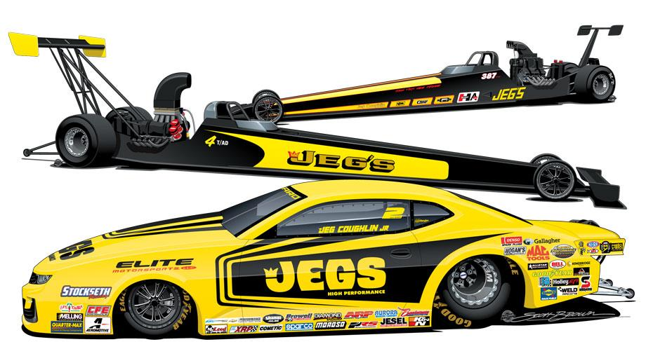 During the 50th anniversary Amalie Motor Oil NHRA Gatornationals, each of the Team JEGS entries will carry a unique throwback paint scheme of cars ...