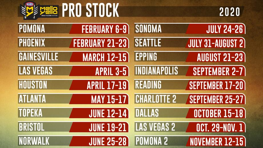 NHRA announces 2020 Pro Stock schedule