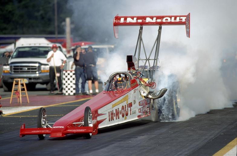 Melanie Troxel driving an In-N-Out Burger sponsored Top Fuel dragster at Seattle in 1999