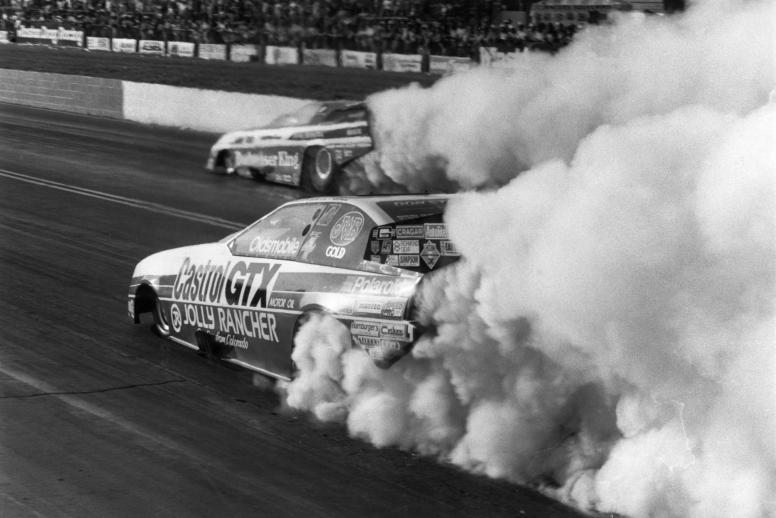 Two of Funny Car's finest, John Force and Kenny Bernstein, put on a show for the fans at the 1987 Southern Nationals