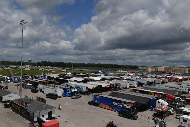 The pit area at Lucas Oil Raceway at Indianapolis was jammed with teams for NHRA's Return to Racing event