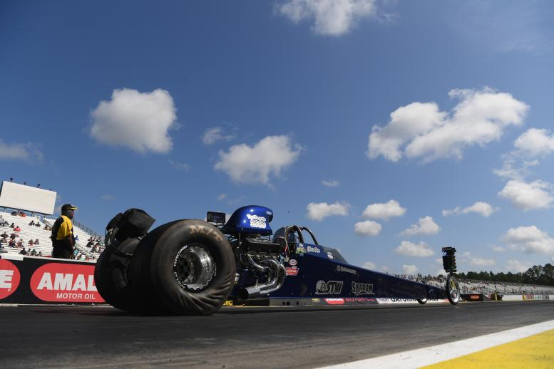 Chris Roe, Top Dragster, is part of the field as racing resumed in Gainesville after a six-month break
