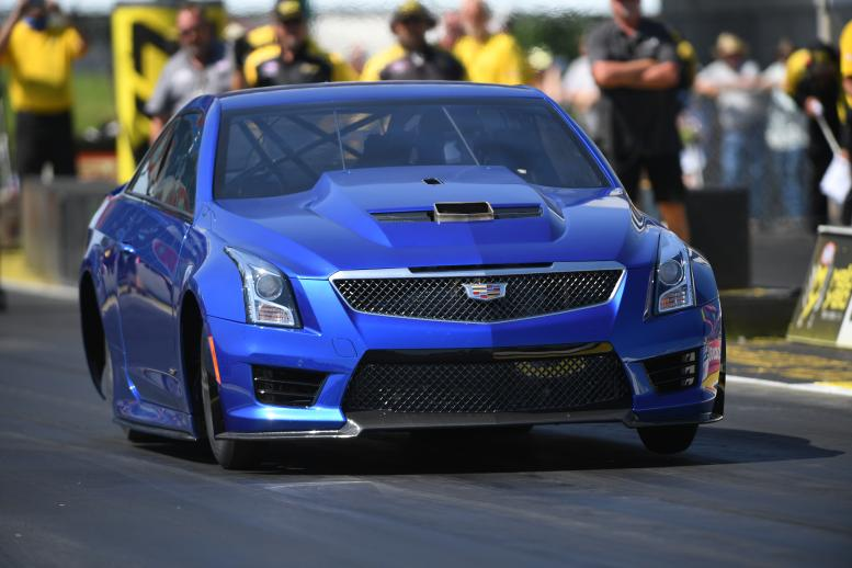 Larry Larson plans first quarter-mile passes with his Cadillac ATS-V at the Midwest Nationals