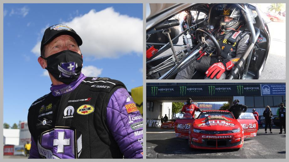 Jack Beckman, Erica Enders, and Alex Laughlin welcome Camping World to the NHRA