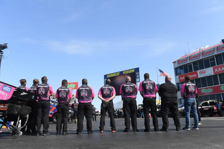 Eric Lane moment of silence prior to Q1 of Funny Car