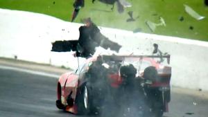 Pro Mod driver Jonathan Gray hits the wall hard in Houston.