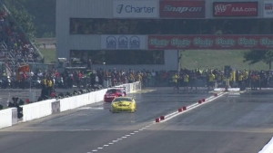 Pro Mod Driver Pete Farber hits the wall in St. Louis