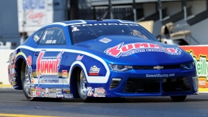Summit Racing Pro Stock champion Jason Line powers to the top in Gainesville on Friday