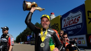 Pro Stock Motorcycle rider Eddie Krawiec races to victory in Gainesville