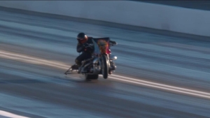 Unbelievable save by Top Fuel Harley rider Mike Pelrine during qualifying