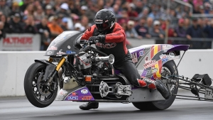 Tii Tharpe races to the Top Fuel Harley victory in Epping