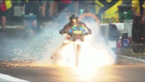 Watch Dennis Fisher's Top Fuel Harley EXPLODE at the 2017 NHRA Thunder Valley Nationals