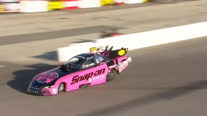 Cruz Pedregon Raises Awareness of Breast Cancer with his Pink Funny Car
