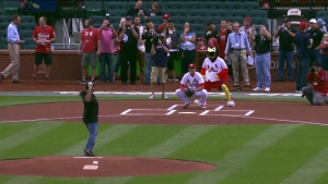 Shawn Langdon Throws First Pitch at St. Louis Cardinals Game