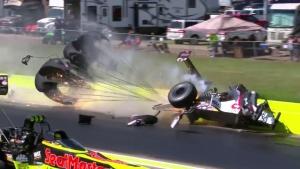 Steve Torrence crashes at AAA Texas NHRA FallNationals