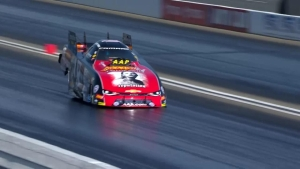 Courtney Force takes her Taylor Swift Funny Car for a wild ride