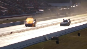 Cruz Pedregon's Funny Car goes up in flames
