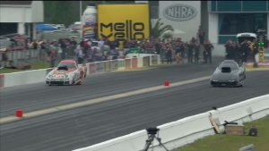 Alcohol Funny Car racer D.J. Cox unhurt in Gatornationals incident